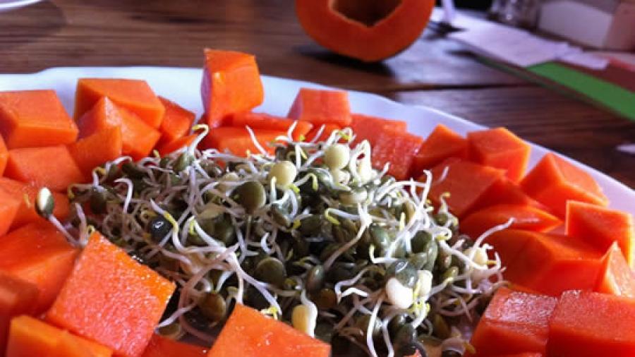 Linsensprossen zu Papaya