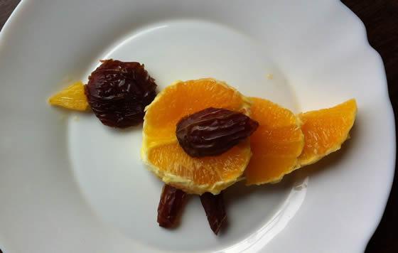 Orangen-Dattel-Vogel