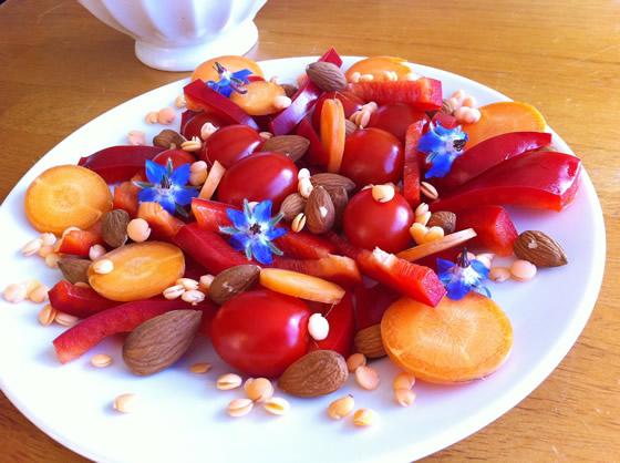 Möhre, Tomaten, Paprika, Mandeln, gekeimte Linsen, Borretschblüten