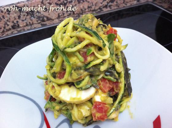Pasta mit Champignon-Spinat-Tomaten-Avocado-Sauce