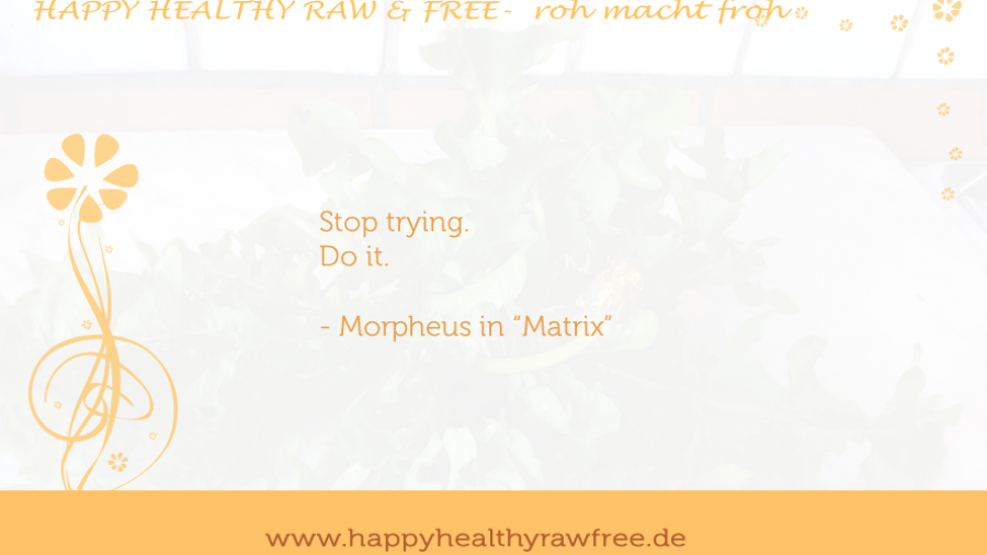 stop trying. do it. live happy, healthy, raw & free